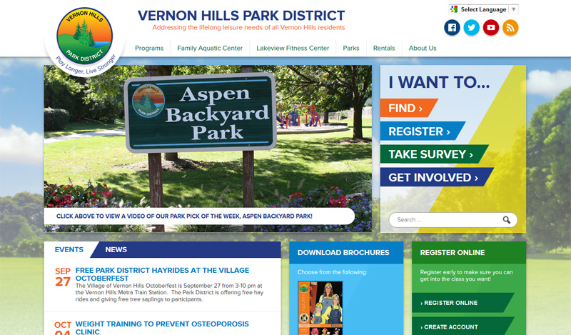 Parks and Recreation Web Design